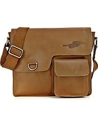 Leder Umhängetasche von REBELS & LEGENDS, Unisex Ledertasche Messenger-Bags Echt-Leder Tasche 30 x 28,5 x 6,5 cm (B x H x T)