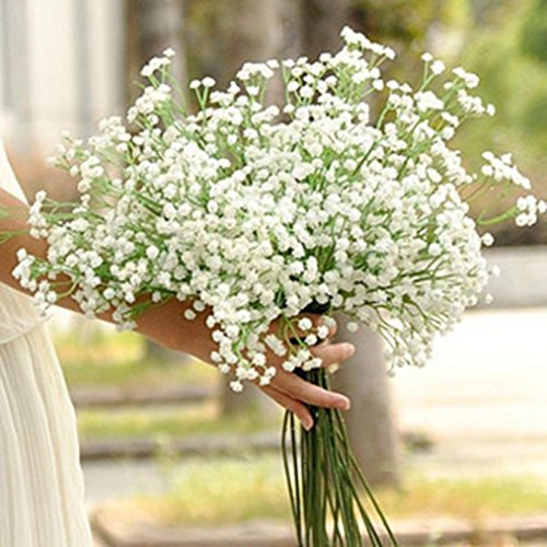 lumen,Künstliche Deko Blumen Gefälschte Blumen Seiden Sprinkle Schnee gefüllt Gypsophila Blumenstrauß 6 PC Bifurkation Bridal Wedding Bouquet Home Decor (Weiße Seide Blumen Bulk)