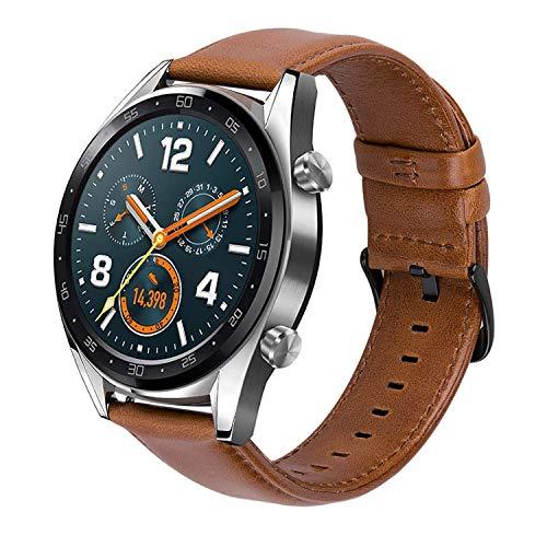 Gear S3 Cinturino 22mm Braccialetto per Samsung Galaxy Watch 46MM / Gear S3 Frontier/Classic, TicWatch Pro,Amazfit Stratos 2,Huawei Watch 2 Classic Smartwatch Cinturini di Ricambio Vera Pelle (Brown)