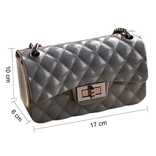 Young & Ming - Mini Jelly diamante Borse Donna Borse a tracolla Shoulder Bag con catena metallica Fashion Handbag Grigio scuro