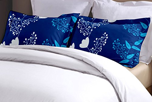 Home Ecstasy 120 TC Cotton 104TC Printed Blue Pillow Cover pair (Blue)