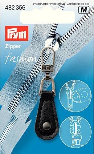 Prym Imititation Leder rund Fashion Zip Abzieher, schwarz -