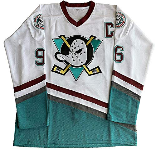 f92932e68be ananjin Charlie Conway #96 Mighty Ducks Adam Banks #99 Movie Ice Hockey  Jersey Green