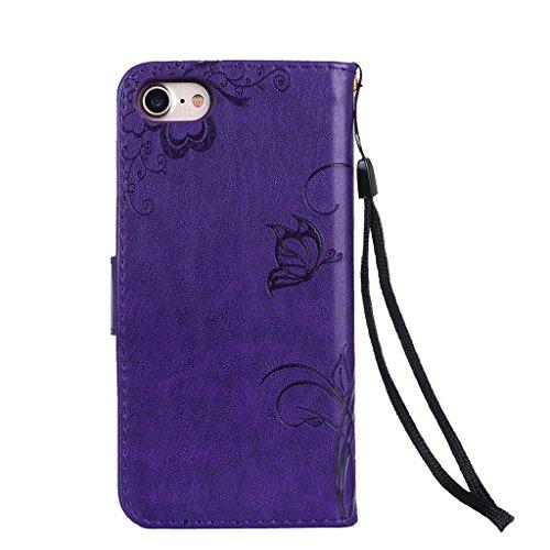 Fodlon® iPhone 7 Hülle Solide Mode Ameisen Dating PU Leder Tasche Schutzhülle Case Magnetverschluss Telefon-Kasten Handyhülle Standfunktion -Grau Lila