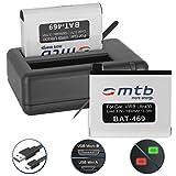 2 Batterie + Caricabatteria doppio (USB) per Garmin Virb Ultra 30 Action Cam [1000 mAh | 3.7V | Li-Ion] - Cavo USB micro incluso