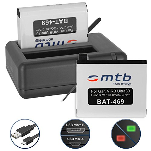 2 Akkus + Dual-Ladegerät (USB) für Garmin Virb Ultra 30 Action Cam [1000 mAh | 3.7V | Li-Ion] - inkl. Micro-USB-Kabel