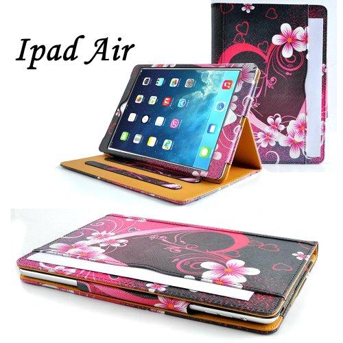 N9-online Jellybean 5200F Étui en cuir pour iPad Air/iPad 5 avec film protecteur d'écran Motif cœur