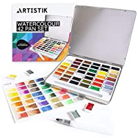 Artistik Watercolour Paint Set - 42 Pans Richly Pigmented Artist Quality Colours Includes 6 Vibrant Metallics, 1 Waterbrush Pen in a Metal Tin, for Professionals Artists, Beginners and Hobbyists
