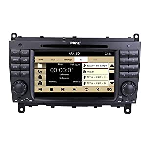 Rupse For Benz CLK W209 220 / CLS W219 Indash Car DVD Player With 7 Inch HD touchscreen Video Monitor GPS Sat Navi Navigation System / RDS / iPod / Can-Bus / Steering wheel control / Bluetooth handsfree