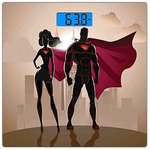 Precision Digital Körpergewicht Waage Superheld Ultra Slim gehärtetes Glas Personenwaage Genaue Gewichtsmessungen, Super Woman Man Heroes in der Stadt Heißes Paar im Kostümmuster, Beigebraun Magenta