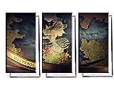 Unified Distribution Game of Thrones - Karte - Dreiteiler (120x80 cm) - Bilder & Kunstdrucke fertig auf Leinwand aufgespannt und in erstklassiger Druckqualität