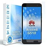 EAZY CASE 3X Displayschutzfolie kompatibel mit Huawei Ascend G510, nur 0,05 mm dick I Displayschutz, Schutzfolie, Displayfolie, Transparent/Kristallklar