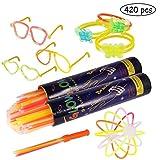 Pulseras luminosas, Pack de 200 Pulseras fluorescentes glow pack multicolor, Varitas...