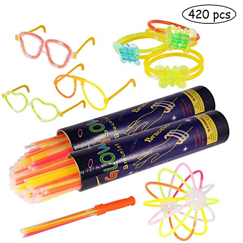 Imagen de pulseras luminosas, pack de 200 pulseras fluorescentes glow pack multicolor, varitas luminosas para fiestas 20 cm  pulseras, collares, kits para crear gafas