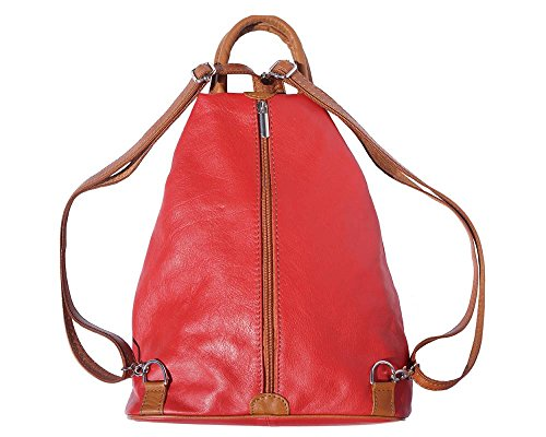 Florence Leather 207, Borsa a zainetto donna Black, Bordeaux & Tan (multicolore) - 207 Red & Tan