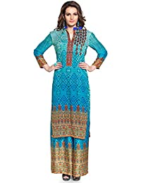Admyrin Women Blue Crepe Silk Digital Print Tunic With Palazzo