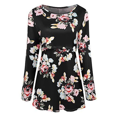 Feixiang Tops de Lactancia para Mujeres❤ Camisetas de Mujer Embarazada de Lactancia Camisetas de Lactancia Imprimir Camiseta de Manga Larga Camisetas cómodas para Mujeres Ropa Fuera de casa