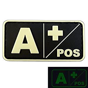 Lumineux A POS Groupe Sanguin Morale Tactical PVC Gomme 3D Velcro Écusson Patch