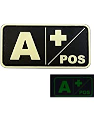 Glow in the Dark A POS Blood Type Morale Tactical PVC Rubber 3D Velcro Patch