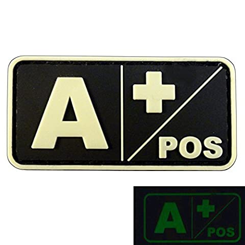 Lumineux A POS Groupe Sanguin Morale Tactical PVC Gomme 3D Attache-boucle Écusson Patch