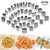 Joyoldelf, set di 41formine per biscotti–Mini alfabeto con numeri e simboli matematici, stampi per biscotti da forno, con scatola, in acciaio INOX