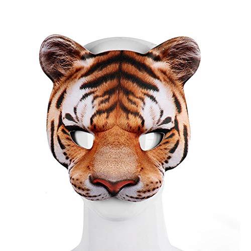 Foroner Unisex Bösewicht Kostüm Party Ball Halloween Mardi Gras Halbes Gesicht Tiger Maske (Gelb)