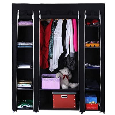 New Black Triple Canvas Wardrobe With Shelves - Bedroom Storage Furniture