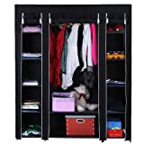 Furniture Best Deals - NEW BLACK TRIPLE CANVAS WARDROBE WITH SHELVES - BEDROOM STORAGE FURNITURE by Delta