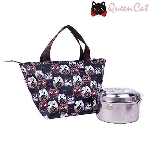 Petit sac à main imperméable Queen & Cat/Waterproof Small handbag-CHOUETTES FOND NOIR