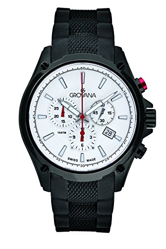 Grovana Men's Quartz Watch with White Dial Chronograph Display and Black Rubber Strap 1635.9872