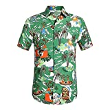 Fannyfuny camiseta Hombres Verano Original Básica de Manga Corta Camisetas Hombre Baratas Ropa Gym Hombre Original King Funky Camisa Hawaiana Bolsillo Delantero Impresión de Hawaii