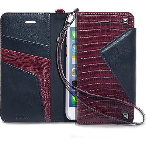 iPhone 7 Funda, TORU [Cherie] Funda cartera para iPhone 7 [Piel de cocodrilo][Almacenamiento de tarjetas y carnés][Soporte][Correa] para iPhone 7 - Burdeos