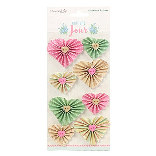 Dovecraft-Couture du Jour Cuore fisarmonica adesivi, multicolore