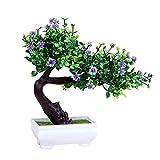 Flikool Mini Kunstbäume mit Topf Kunstpflanzen im Pot Kunstblumen Künstliche Blumen Künstliche Pflanzen Gefälschte Topfpflanzen Bonsai Künstliche Bäume Dekoartikel Ornamente - Blau