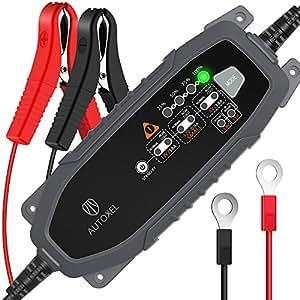 AUTOXEL Chargeur de Batterie Intelligent 6V/12V 3.8A, Compensation Automatique de la Température, Mainteneur Automatique, Batteries (Wet, MF, AGM et Gel) (Noir)