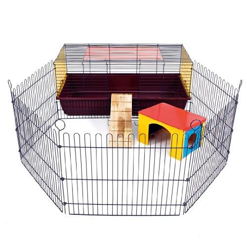 Little friends indoor rabbit 100gabbia con run: ideale per conigli e porcellini d' india