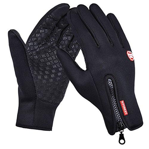 SWAMPLAND Anti-Rutsch Full Finger Fahrradhandschuhe Winddicht Wasserabweisend Touchscreen Handschuhe für Damen und Herren,Schwarz M