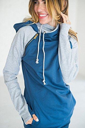 Donna Autunno Felpa con Cappuccio Maglie A Manica Lunga Strisce Cappuccio Felpa Pullover Top A Blu