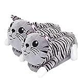 Katze / Cat Plüsch-Hausschuhe für Erwachsene, Einheitsgröße, grau