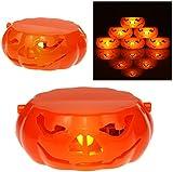 AMOS Flameless LED Pumpkin Tea Light Candle Battery Operated Halloween Party Round Orange Jack O'Lantern Tealight Scary Spooky Decoration