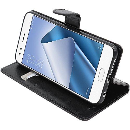 ebestStar - Asus Zenfone 4 Hülle ZE554KL Kunstleder Wallet Case Handyhülle [PU Leder], Kartenfächern, Standfunktion, Schwarz [Phone: 155.4 x 75.2 x 7.7mm, 5.5'']
