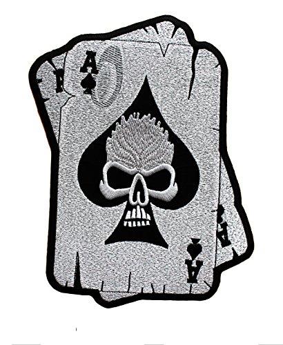 Aufnäher/Bügelbild - Schädel Poker As Totenkopf Biker-24.5 x 17cm Groß XL - Patches zum Aufbüglen Iron on Patches Aufbügler Flicken Applikation Für Kleidung Jeans - Treasure-Quest -
