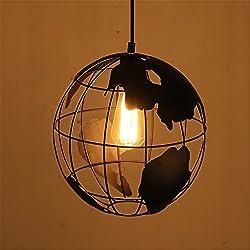 ll-coeur 1x E27Loft lustre decoración lámpara plafón globo terráqueo Suspensión redonda Luminaire Chandelier Bar restaurante café