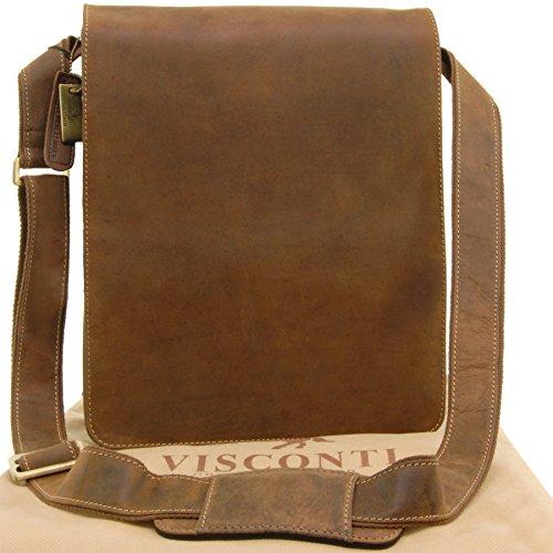 Organizer-Umhängetasche aus Leder von Visconti (18410) - GRÖßE: B: 25 H: 30 T: 7 cm - Hellbraun - Braun Mittagessen Tasche