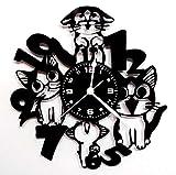 Instant Karma Clocks Horloge Murale en Vinyle Idée Cadeau Chats Animaux domestiques Chats Vintage Silencieux