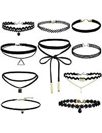 Leisial 10pcs Mujeres Collar de Joyería de Encaje Adhesivo de Gótico Elástico Retro Classic Chockeres Collares de Gargantilla,Negro