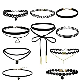 Hosaire 10 Pcs Choker Necklace for Women Girls, Black Classic Velvet Stretch Gothic Tattoo Lace-BEST DECORATION for Summer Dress