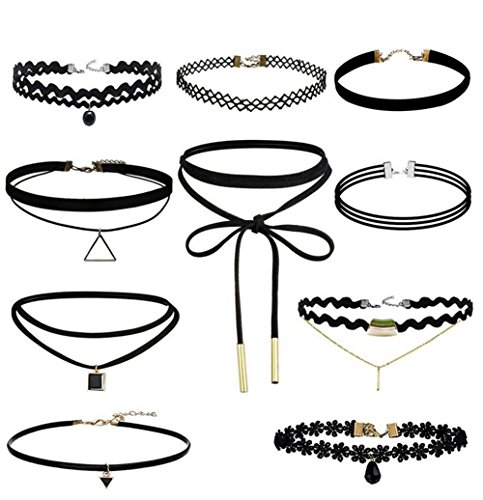 Hosaire 10 Pcs Choker Necklace for Women Girls, Black Classic Velvet Stretch Gothic Tattoo Lace-BEST DECORATION for Summer Dress Test