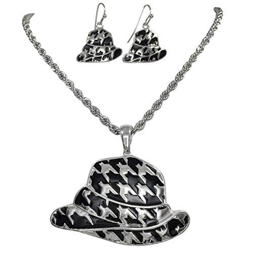 Gypsy Jewels Hahnentritt Fedora Hat Silber Ton Halskette und Baumeln Ohrringe Set Alabama Crimson Tide
