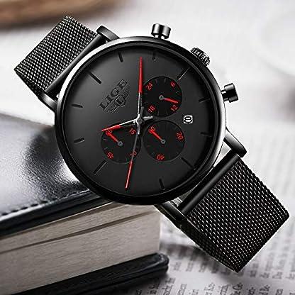 LIGE-Herren-Uhren-Wasserdicht-Mnner-Armbanduhr-Mode-Einfach-Elegant-Geschft-Schwarz-Quarz-Herrenuhr-fr-Mann-mit-Edelstahl-Mesh-Minimalistische-Chronograph-Edelstahl-Armbanduhren-Watch-Men
